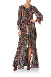 MAXI SKIRT WITH DOUBLE FRILL HOLD YOUR HORSES