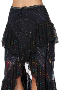 MAXI SKIRT WITH DOUBLE FRILL MIDNIGHT MOON HOUSE
