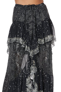 MAXI SKIRT WITH DOUBLE FRILL MIDNIGHT PEARL