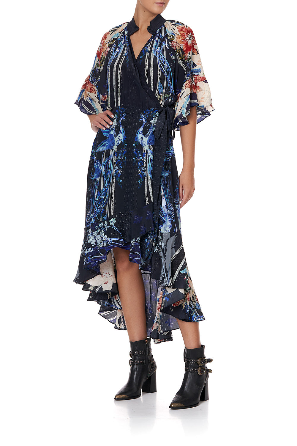 MIDI WRAP DRESS WITH RAGLAN SLEEVE MARE MYSTIQUE