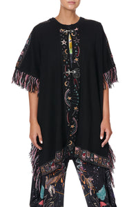 KNIT JACQUARD PONCHO WITH HARDWARE MIDNIGHT MOON HOUSE