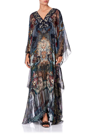 6719e011059 SHEER KAFTAN WITH TIE AND SLIP HOTEL BOHEME (S M)