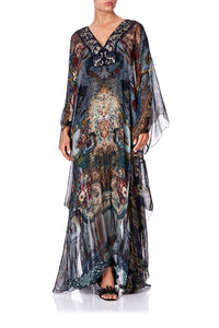 SHEER KAFTAN WITH TIE AND SLIP HOTEL BOHEME