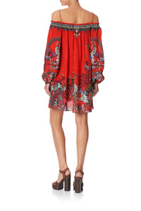 OFF SHOULDER DRESS WITH NECK TIE WONDERING WARATAH