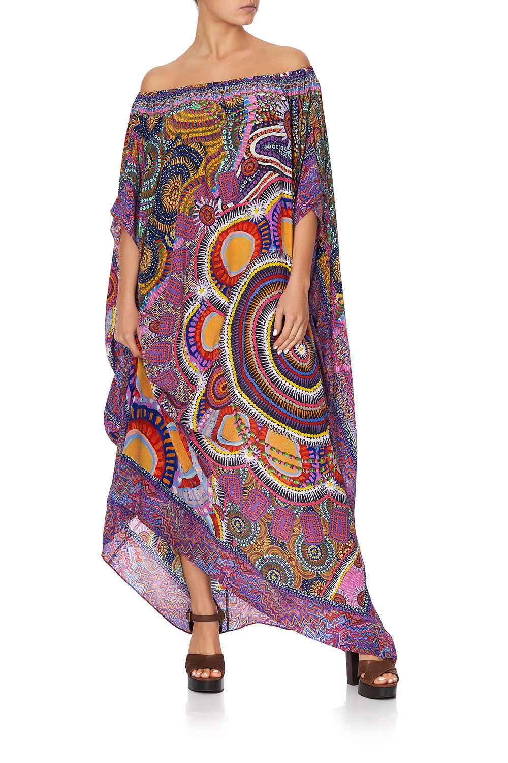 OFF SHOULDER KAFTAN WITH SPLIT WARLU DREAMING