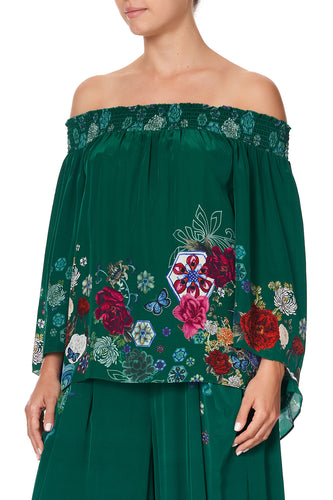 OFF SHOULDER SHIRRED BLOUSE EMERALD'S ORBIT
