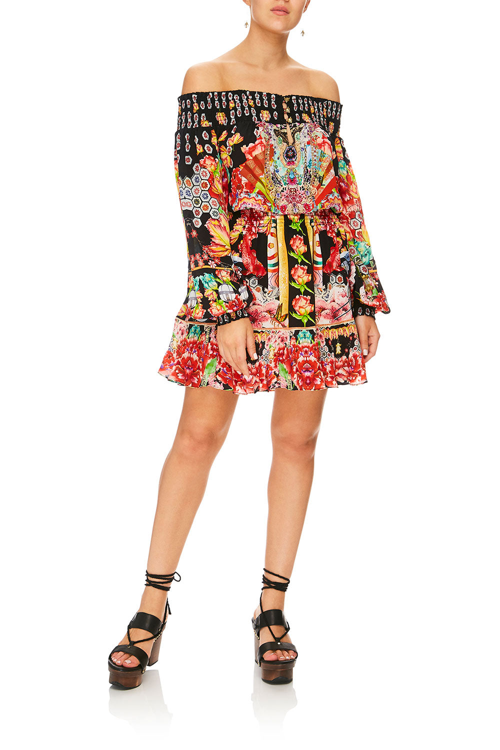 CAMILLA PAINTED LAND OFF SHOULDER SHORT DRESS