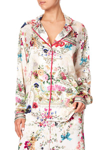 SLEEPWEAR PJ SHIRT WITH PIPING JARDIN POSTCARDS
