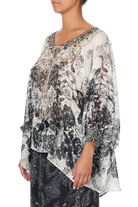 RAGLAN SLEEVE BLOUSE WITH CUFF MIDNIGHT PEARL