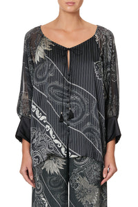 RAGLAN SLEEVE BUTTON UP TOP TALE OF THE FIRE BIRD