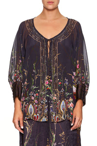 CAMILLA RAGLAN SLEEVE BUTTON UP TOP WILD FLOWER