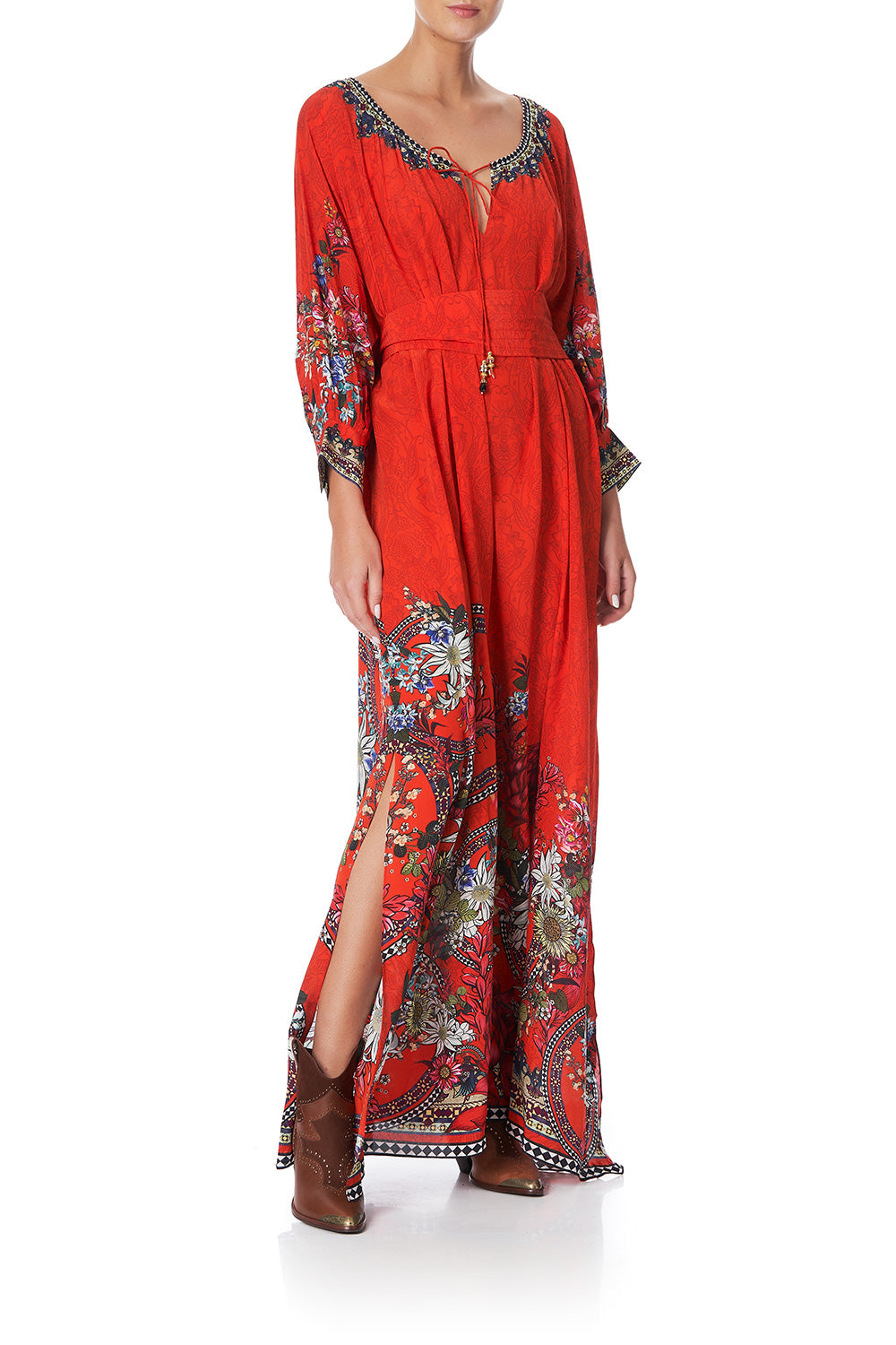 RAGLAN SLEEVE DRESS WITH CUFFS WONDERING WARATAH