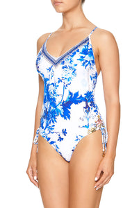 ROUCHED SIDE V-NECK ONE PIECE SAINT GERMAINE