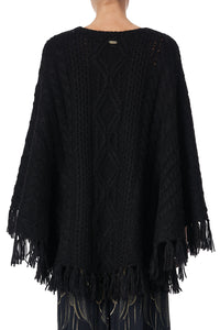 ROUND NECK PONCHO WITH POCKETS SOLID BLACK