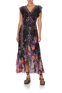 RUFFLE WRAP DRESS BOHEMIAN REBELLION