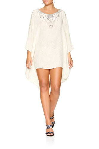 CAMILLA SCOOP BACK HEM DRESS DENTELLE BLANCHE