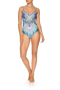 V-NECK ONE PIECE WITH TUCKS FREEDOM FLIGHT