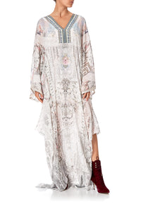 SHEER KAFTAN WITH TIE AND SLIP CRYSTAL CASTLE