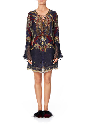 52bba9680 LACE UP SHIFT WITH FLARE SLEEVE THIS CHARMING WOMAN LACE UP SHIFT WITH FLARE  SLEEVETHIS CHARMING WOMAN
