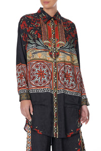 SHIRT TUNIC WITH POCKETS PAVED IN PAISLEY