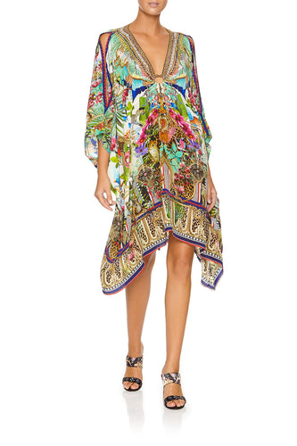 CAMILLA SHORT KAFTAN WITH HARDWARE CHAMPAGNE COAST