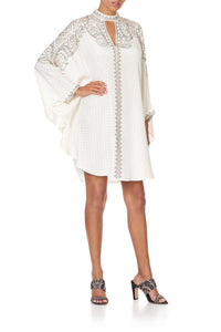 SHORT KAFTAN WITH HIGH NECK LUXE CREAM