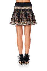 SHORT SHIRRED SKIRT MARAIS AT MIDNIGHT