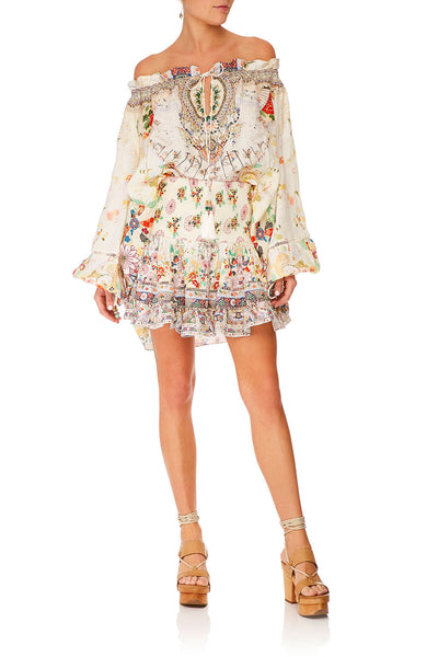 CAMILLA TIME AFTER TIME SHORT SHIRRED SKIRT