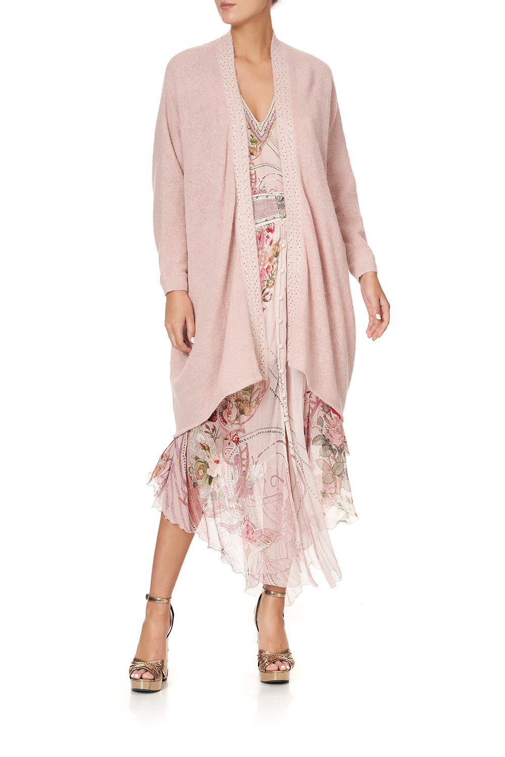 SOFT KNIT PONCHO WITH EMBROIDERY PINK ISTENANYA