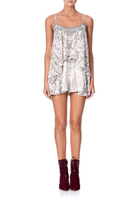 FLARED PLAYSUIT WITH OVERLAYER CRYSTAL CASTLE