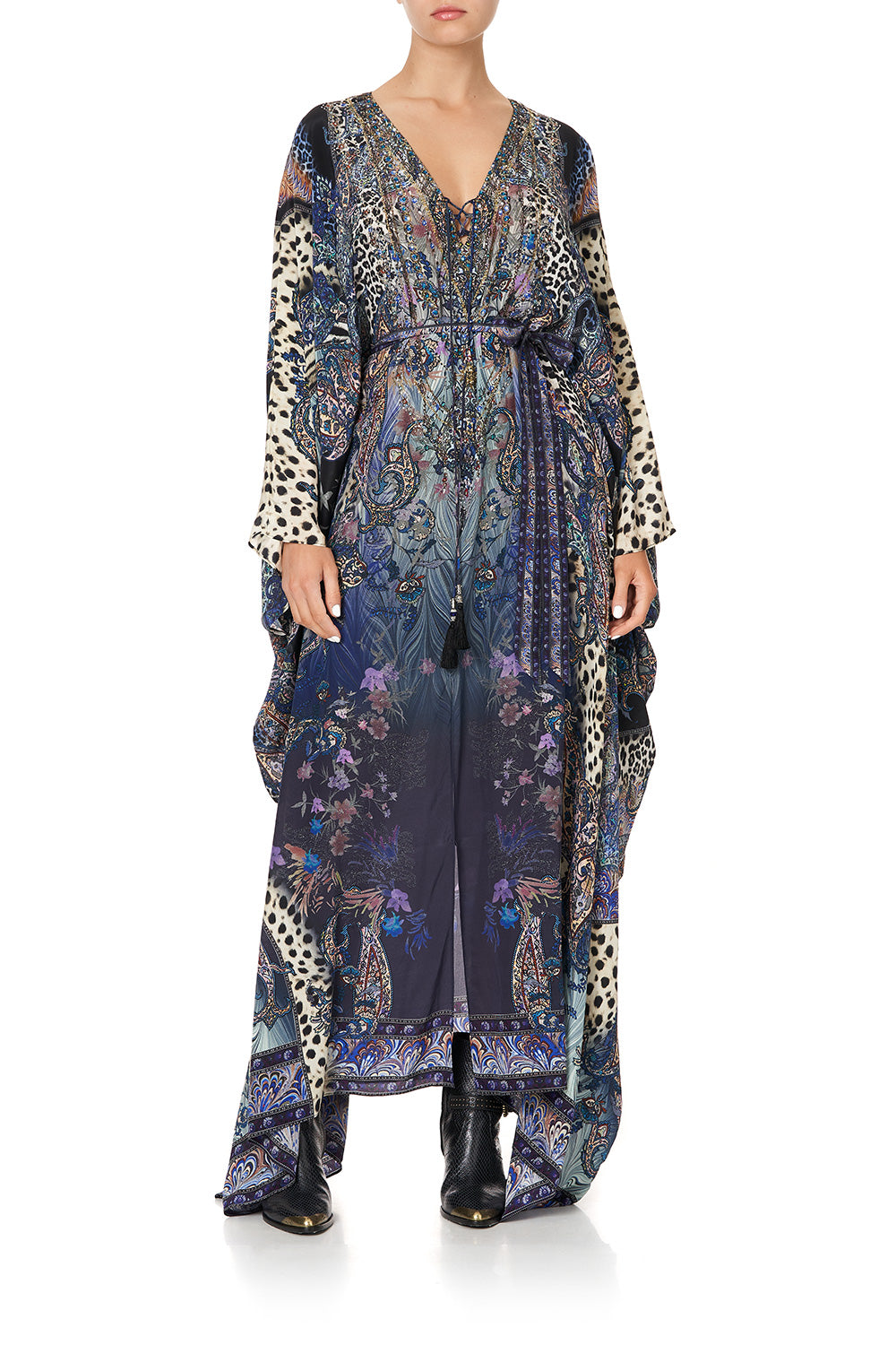 SPLIT HEM LACE UP KAFTAN FESTIVAL EXPRESS