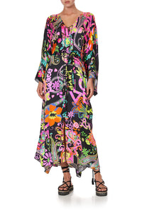 SPLIT HEM LACE UP KAFTAN PEACE LOVE AND HAIR
