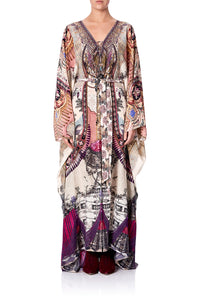SPLIT HEM LACE UP KAFTAN VIOLET CITY
