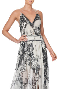 STRAP DRESS WITH SHAPED WAISTBAND SILVER LININGS