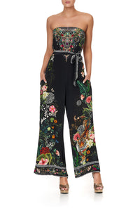 STRAPLESS JUMPSUIT WITH D RING BELT RAISED WITH WOLVES