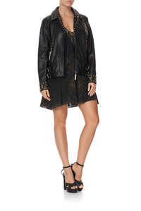 STUDDED BIKER JACKET COBRA KING