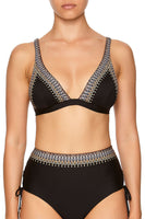 STRAPPY FIXED HIGH TRI BRA BLACK