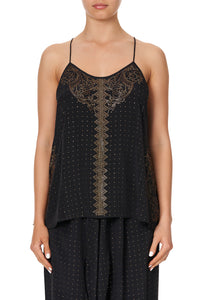 T BACK SHOESTRING TOP LUXE BLACK