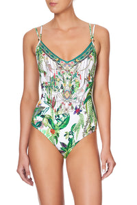 TIE BACK ONE PIECE WITH TRIM DAINTREE DARLING