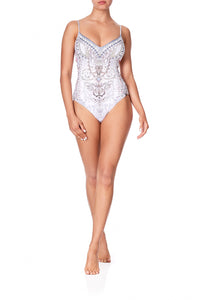 TIE BACK V-NECK ONE PIECE CRYSTAL CASTLE