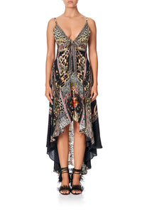 CAMILLA TIE DETAIL HIGH LOW DRESS MARAIS AT MIDNIGHT
