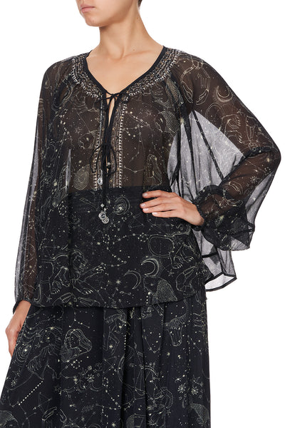 TIE FRONT HIGH LOW HEM BLOUSE MOON SET