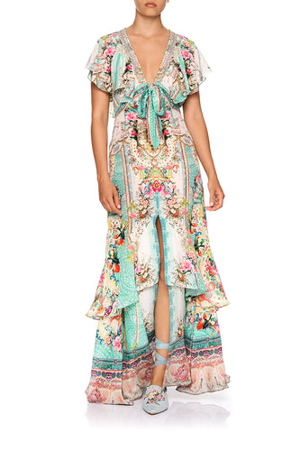 CAMILLA TIE FRONT MAXI WITH SPLIT CALL IT DREAMING