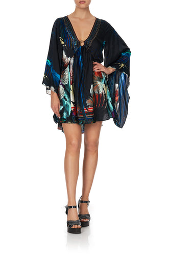 U-RING DRESS WITH KIMONO SLEEVE NIGHT FLIGHT