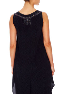 CAMILLA V-NECK CROSS BACK TOP MIDNIGHT MEETING