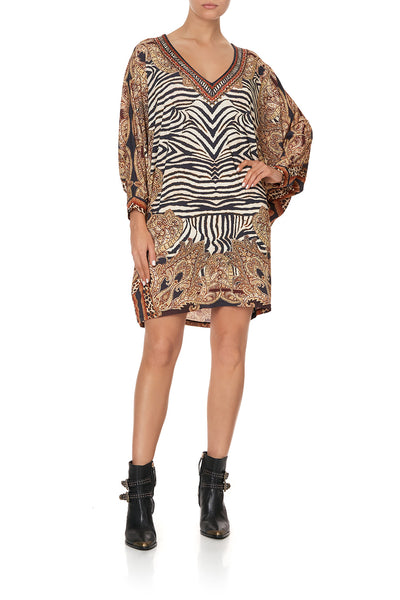 V NECK JERSEY KAFTAN WITH CUFF WILD FIRE