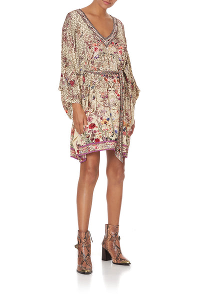 V NECK JERSEY SHORT KAFTAN WITH TIE DRIFTING DREAMER
