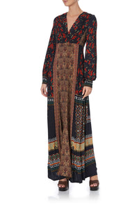 V NECK JERSEY DRESS WITH TUCK DETAIL PAVED IN PAISLEY