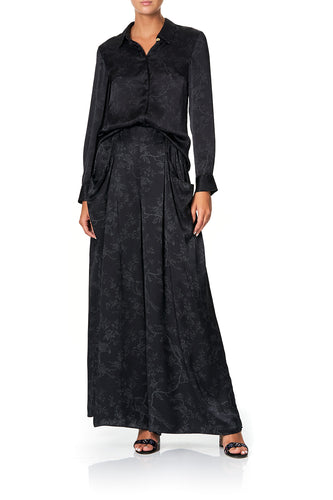 WIDE LEG PANT WITH GATHERED POCKETS NOIR BOUDOIR