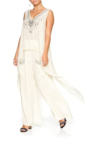 CAMILLA WIDE LEG TROUSER WITH FRONT POCKETS DENTELLE BLANCHE